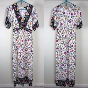 Forever 21 Long Dress Short Sleeve Floral Print